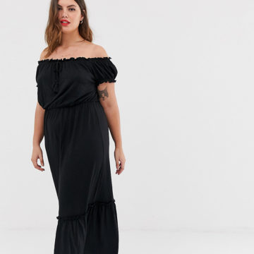 New Look Curve bardot maxi dress in black