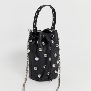 Nunoo Mette Stud Bag with Chain in Black Leather
