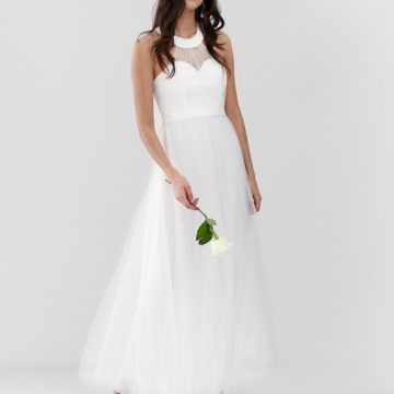 Y.A.S sweetheart tulle maxi wedding dress in white