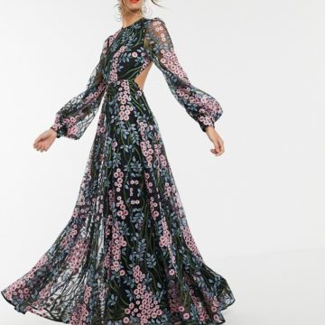 ASOS EDITION floral embroidered maxi dress with open back - Liyanah