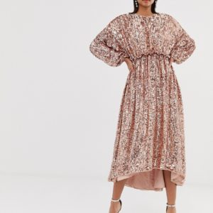 ASOS EDITION open back waisted midi dress in sequin - Liyanah