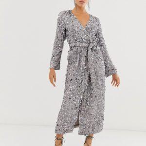 ASOS EDITION wrap midi dress in disc sequin - Liyanah