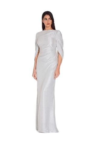 Adrianna Papell White Metallic Knit Long Dress - Liyanah