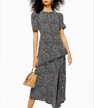 Animal Slit Ruffle Midi Dress