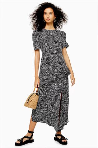 Animal Slit Ruffle Midi Dress
