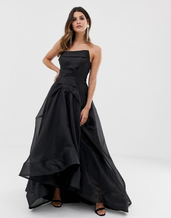 Bariano full maxi dress with origami bust detail in black - Liyanah