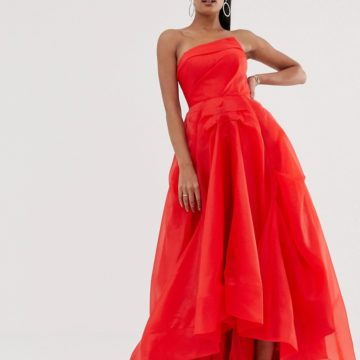 Bariano full maxi dress with origami bust detail in red - Liyanah