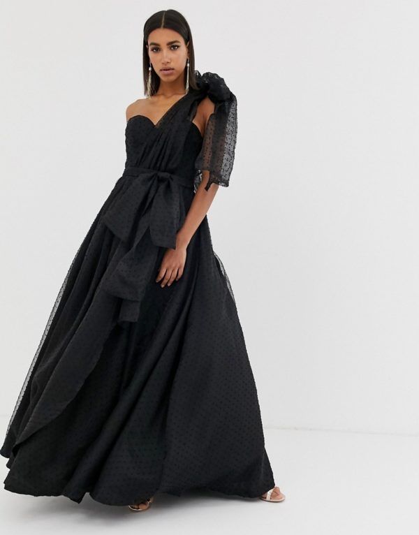 Bariano full prom one shoulder maxi dress with detachable bow detail in black - Liyanah