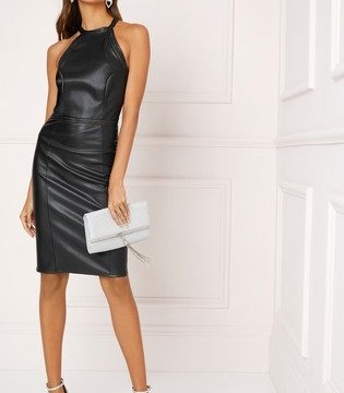 Lipsy Faux Leather Halter Neck Dress - Liyanah
