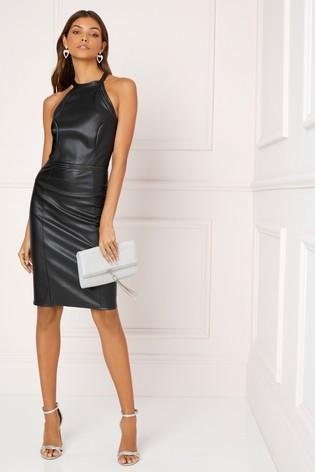 Lipsy Faux Leather Halter Neck Dress - Liyanah
