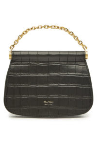 MAX MARA Sylvia Embossed Leather Shoulder Black Bag