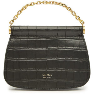 MAX MARA Sylvia Embossed Leather Shoulder Black Bag - Liyanah