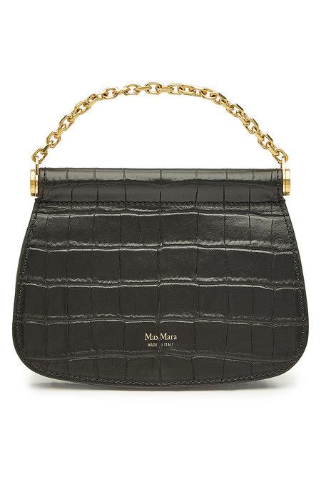 MAX MARA Sylvia Embossed Leather Shoulder Black Bag - Liyanah