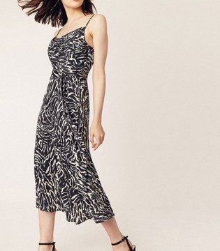 Oasis Black White Zebra Cowl Bias Cut Midi Dress