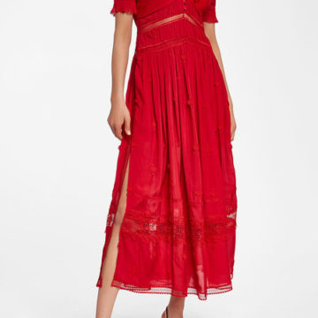 SELF-PORTRAIT 3D Plumetis Midi Dress with Lace - Liyanah