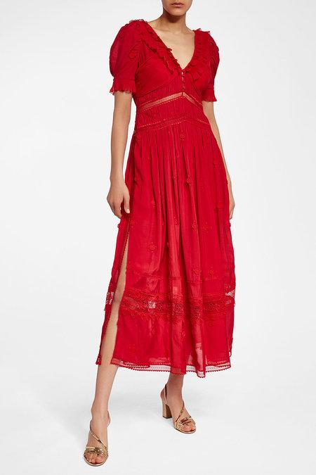 SELF-PORTRAIT 3D Plumetis Midi Dress with Lace - Liyanah