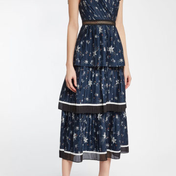 SELF-PORTRAIT Printed Satin Midi Dress - Liyanah