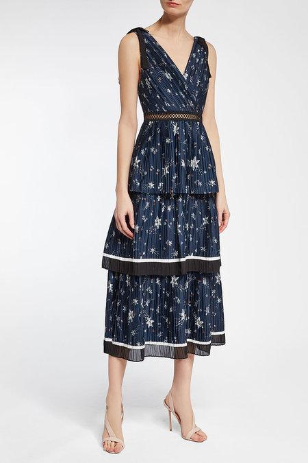SELF-PORTRAIT Printed Satin Midi Dress - Liyanah