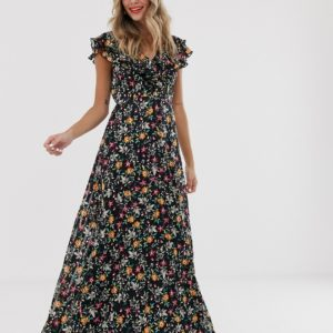 Twisted Wunder chiffon maxi dress with ruffle detail in ditsy floral