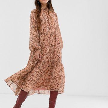 Vila high neck paisley maxi dress