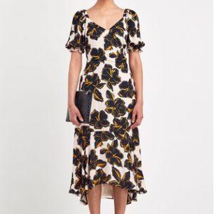 Whistles Black Tropical Flower Dress