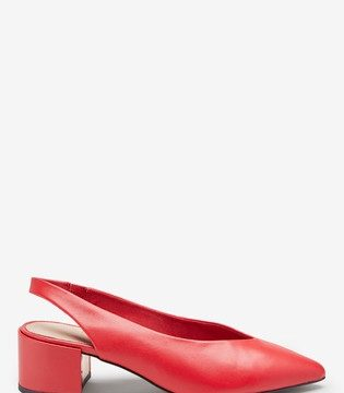 Leather Red Block Slingbacks - Liyanah