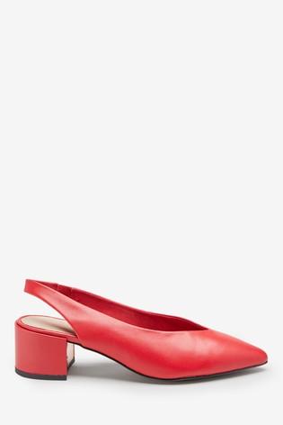 Leather Red Block Slingbacks - Liyanah