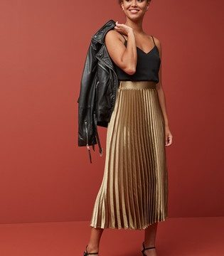 Metallic Pleat Skirt - Liyanah