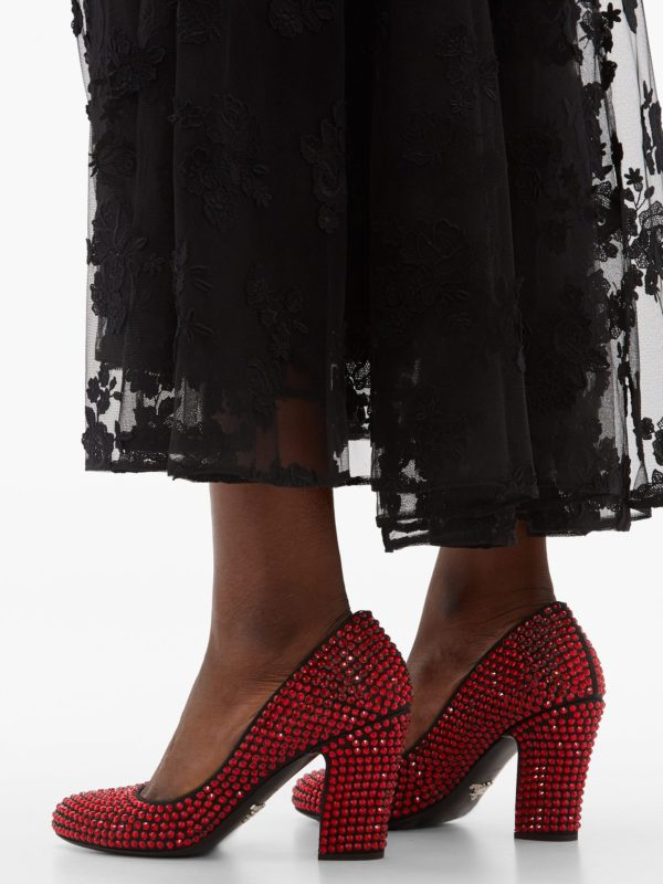 PRADA Crystal-embellished leather pumps - Liyanah