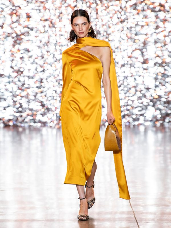 STAUD Farrah one-shoulder satin dress - Liyanah