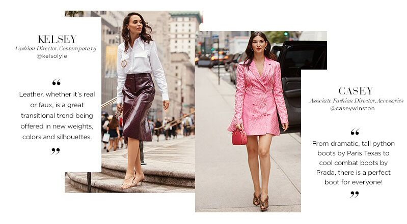 Saks Fifth Avenue - New York Fashion Week Radar Edit Street Style - Kelsey Fashion Director Contemporary x Casey Associate Fashion Director Accessories - Leather skirt Pink Dress Python Boots - Liyanah