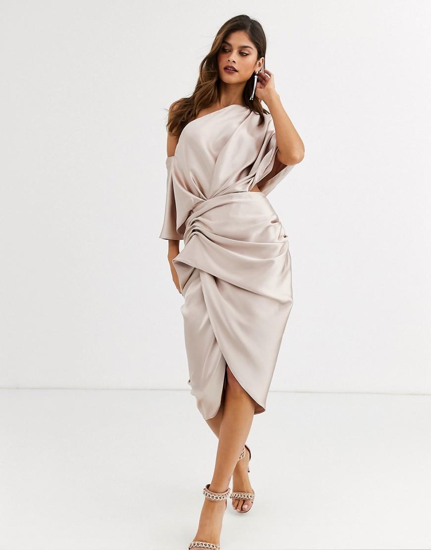 ASOS EDITION drape asymmetric midi dress in satin - Liyanah