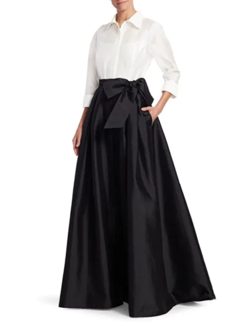 Teri Jon by Rickie Freeman Collared Taffeta Ball Gown - Liyanah